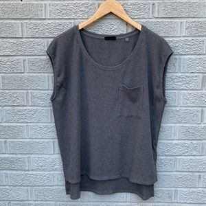 ATM Ribbed High Low Gray Cap Sleeve Top